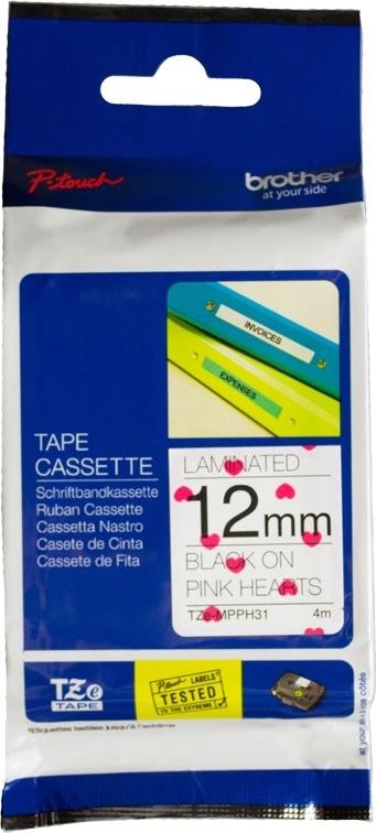 Brother TZe-MPPH31 labeltape, 12mm sort på prikket