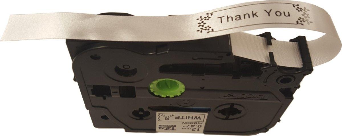 Brother TZe-R231 sort tekst på hvidt silkebånd