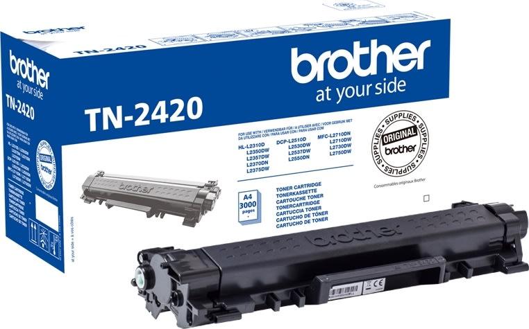 Brother TN2420 lasertoner, sort, 3000s