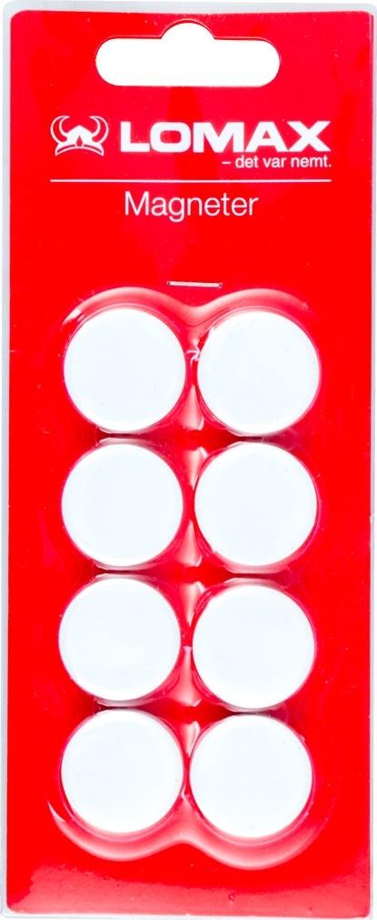 Runde whiteboard magneter, 8 stk, 2 cm, hvid