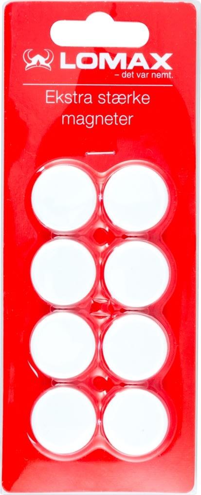 Super stærke runde magneter, 8 stk, 2 cm, hvid