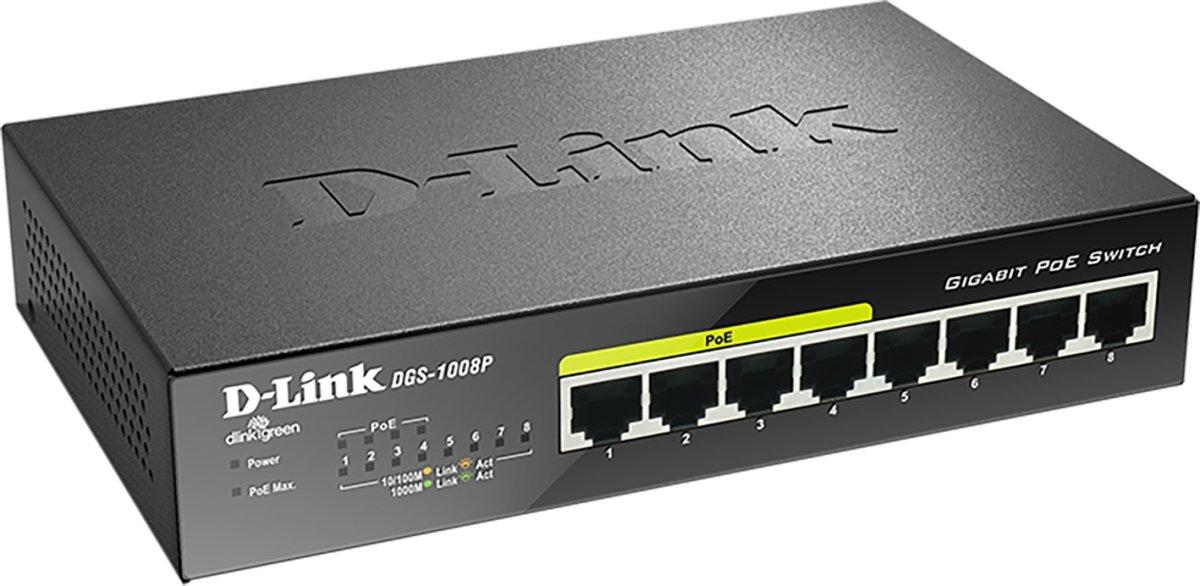 D-Link DGS-1008P Switch, 8 ports
