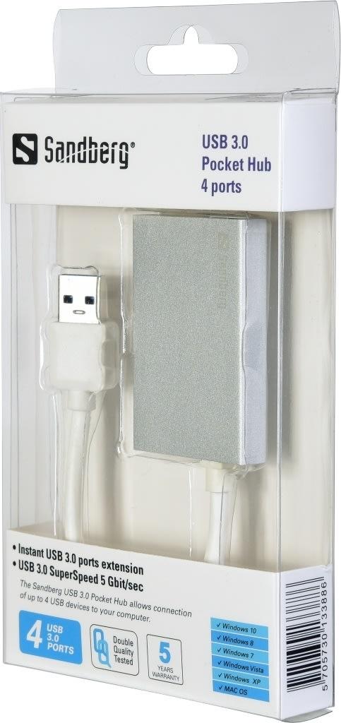 Sandberg USB 3.0 Pocket Hub 4 Ports, sølv