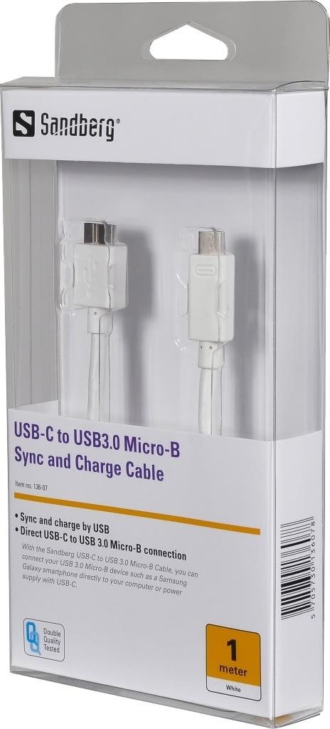 Sandberg USB-C til USB 3.0 Micro-B kabel, hvid(1m)