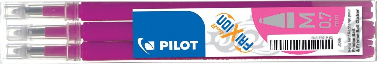 Refill til Pilot Frixion Clicker, pink, 3 stk.
