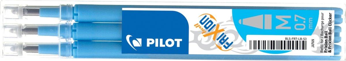 Refill til Pilot Frixion Clicker, lyseblå, 3 stk.