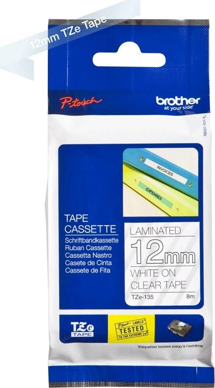 Brother TZe-135, 12mm, hvid tekst på klar tape
