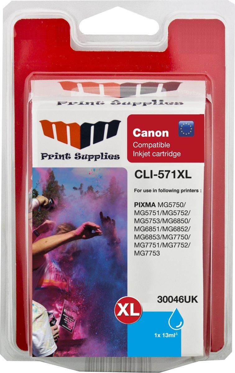 MM CLI-571XL kompatibel Canon blækpatron, blå