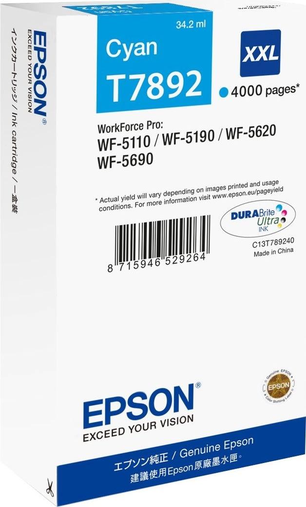 Epson T7892/C13T789240 XXL blækpatron, blå, 4000s