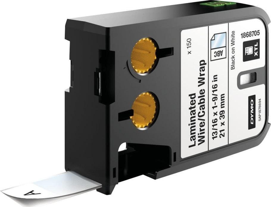 Dymo XTL, vinyl etiketter, 21x39 mm, sort på hvid