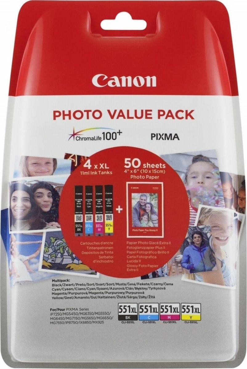 Canon CLI-551XL Blæk + papir