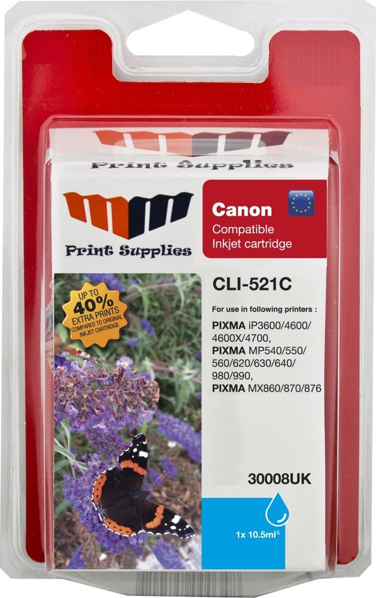 MM CLI-521C kompatibel blækpatron, blå, 605s