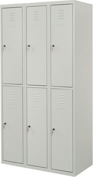 Proff garderobeskab, 3x2 rum,Plan,Hængelås,Grå