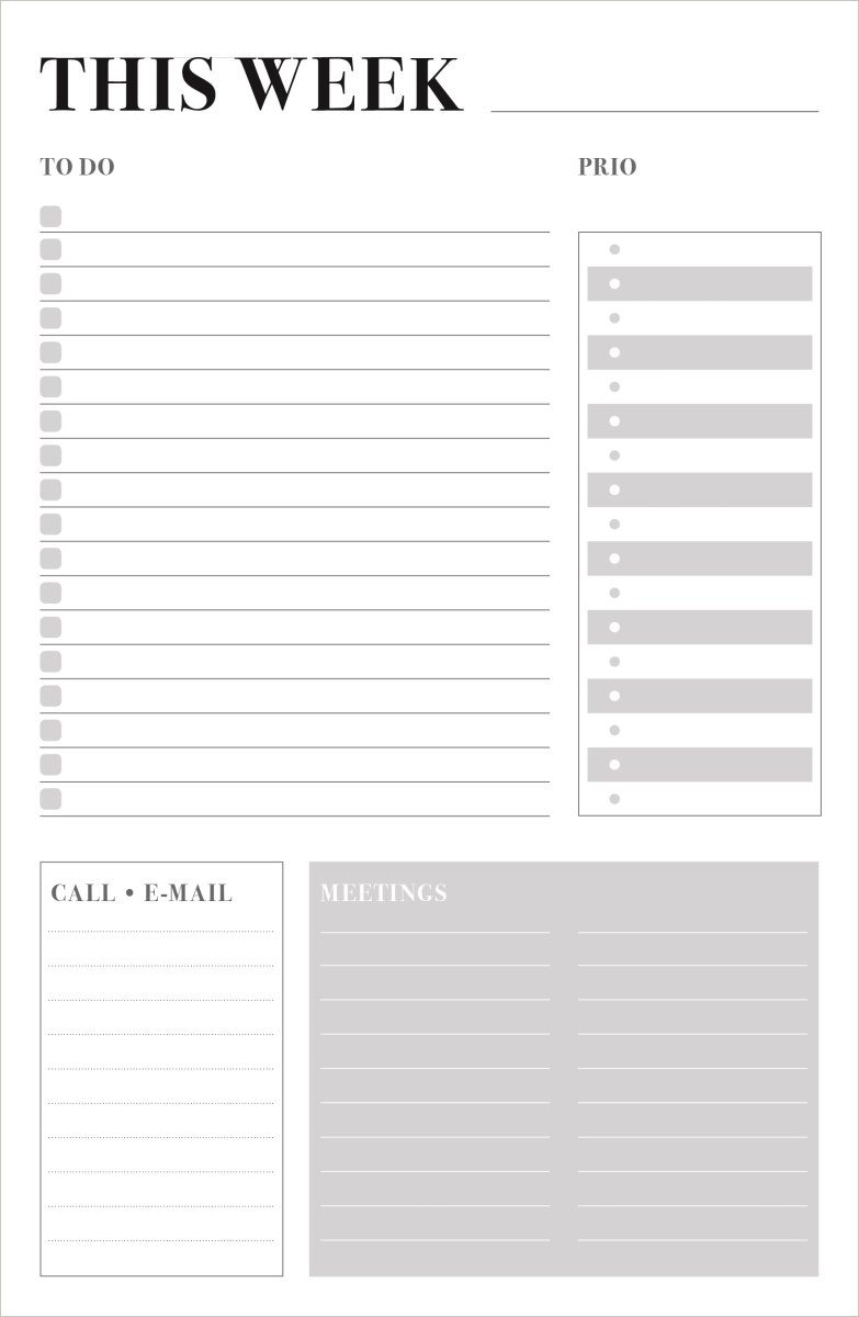 Mayland Weekly Plan, to-do liste, 150x230 mm, grå