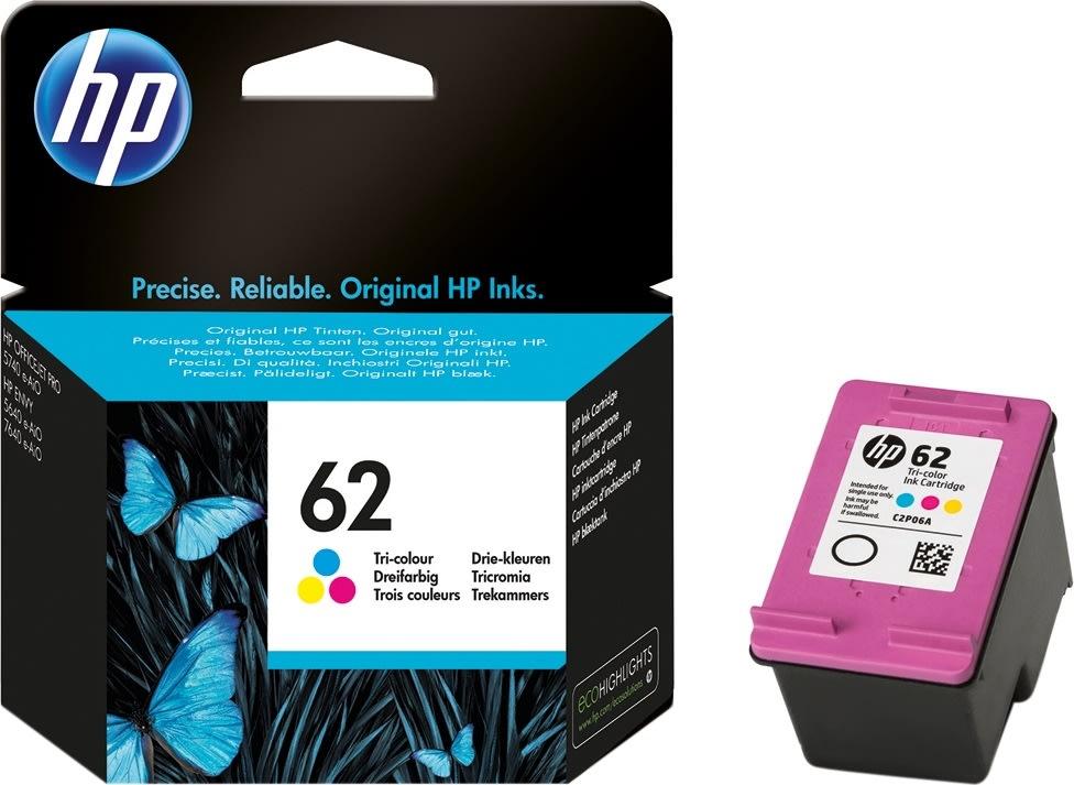 HP No62 blækpatron, tri-farve, 165 sider