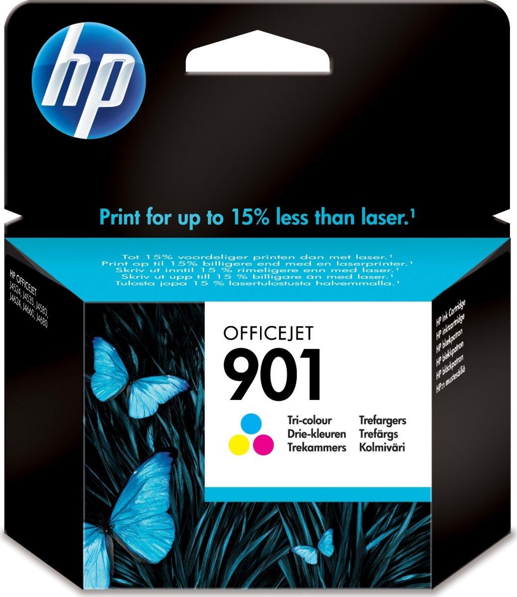 HP No901 blækpatron, blister, tri-farve, 360s