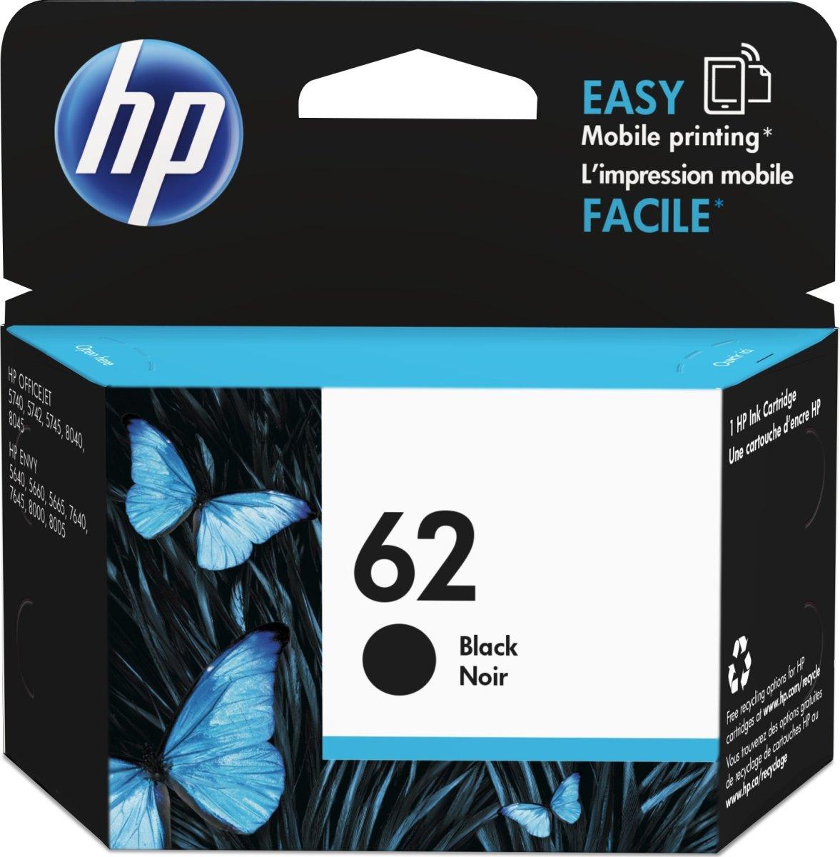 HP No62 blækpatron, blister, sort, 200s