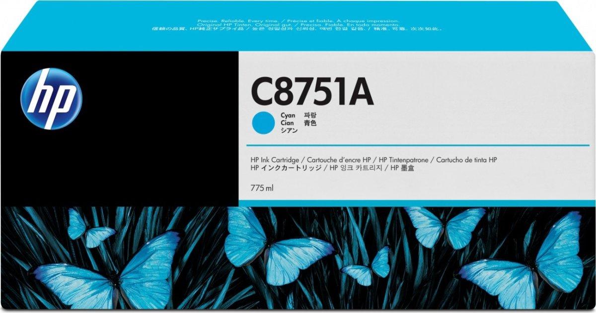 HP C8751A blækpatron, cyan, 775ml