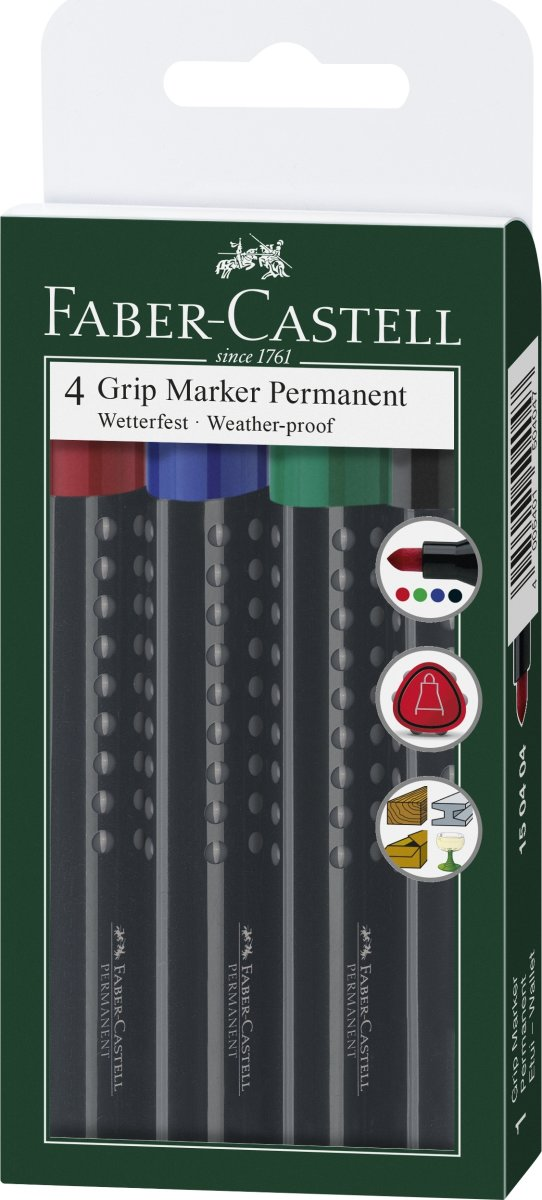 Faber-Castell Grip Marker, skrå spids, 4 stk.