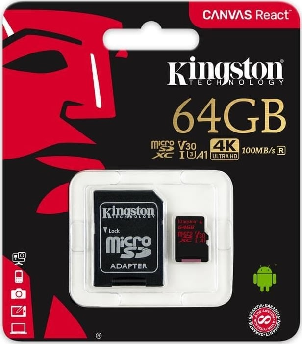 KINGSTON Canvas React 64GB microSDXC hukom.kort