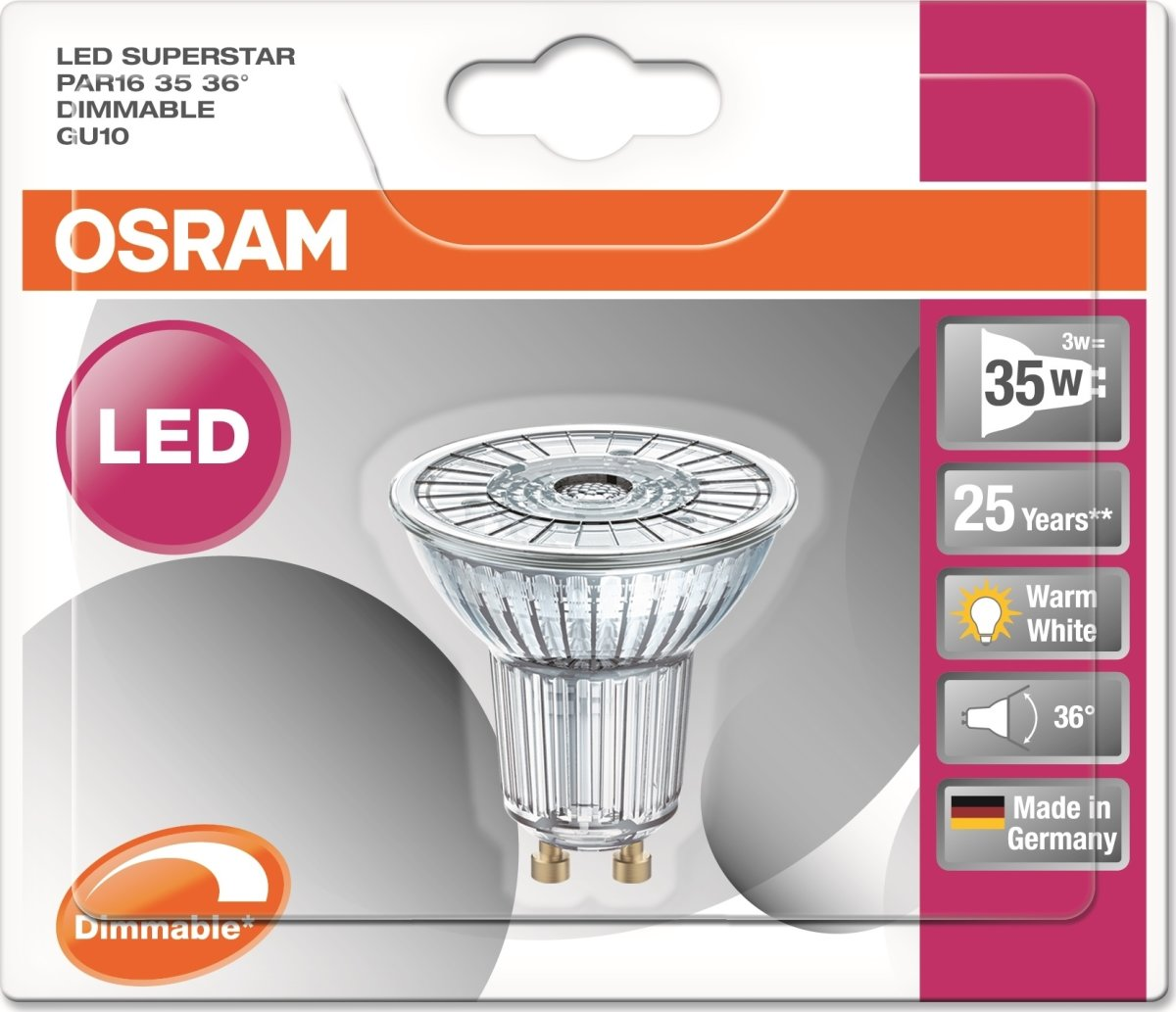 Osram LED Spotpære GU10, 3,3W=35W, dæmpbar