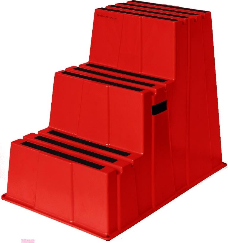 Sikkerhedstrappe, 3 trin, rød