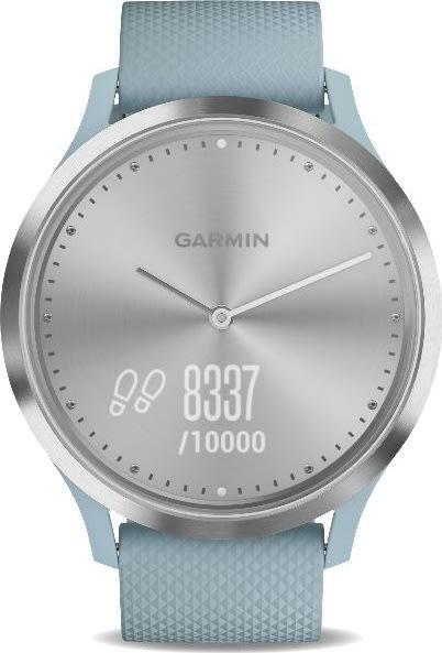 Garmin vívomove™ HR, Sport, sølvfarvet med blå rem