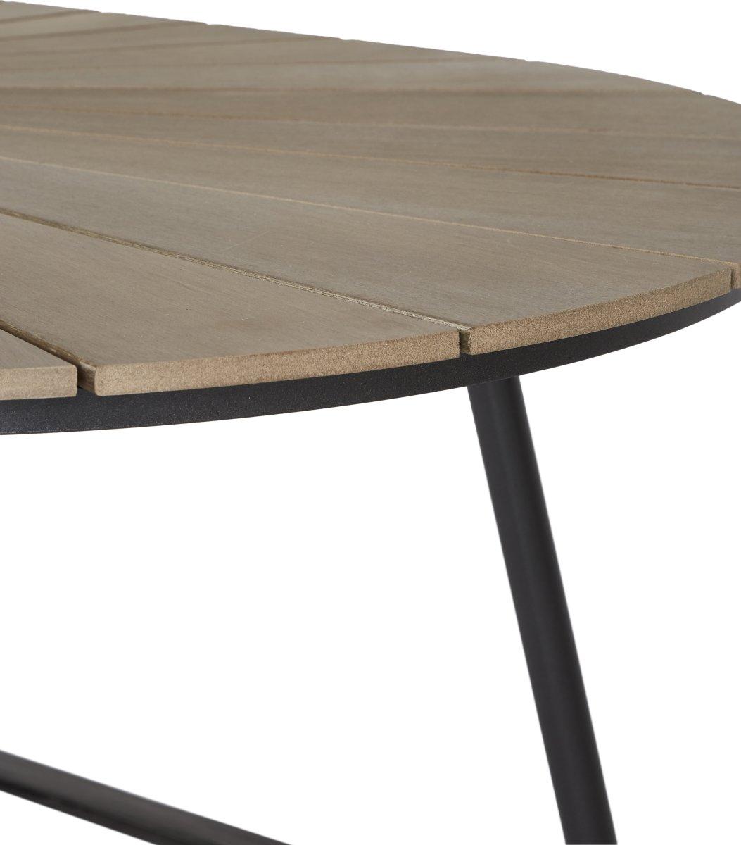 Ovalt havebord B103xL195 cm, sort