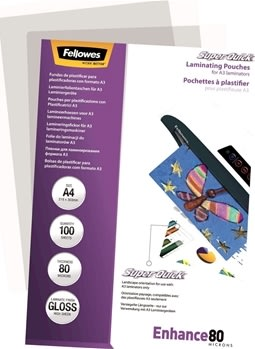 Fellowes Enhance 80 mic A4 Lamineringslomme, gloss