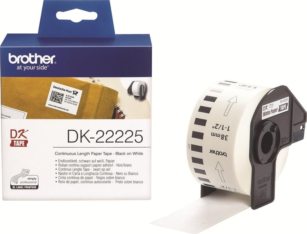 Brother DK22225 papirtape, 38mm, hvid