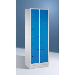 CP garderobeskab,2x4rum,Sokkel,Cylinderlås,Grå/Blå