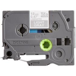 Brother TZe-MQL35 labeltape 12 mm, hvid på grå