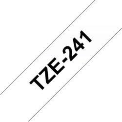 Brother TZe-241 labeltape 18mm, sort på hvid