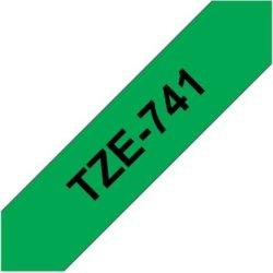 Brother TZe-741 labeltape 18mm, sort på grøn