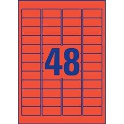 Avery L6038-20 far.etiketter, 45,7 x 21,2mm, røde