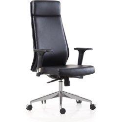 Lecce kontorstol i sort læder inkl. armlæn
