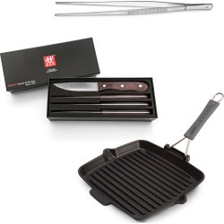 Staub Grillpande + Zwilling Madpincet & steakknive