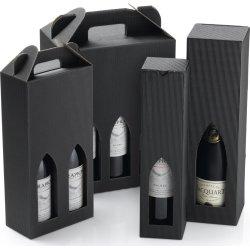 Gaveæske til vin, 4 flasker, sort