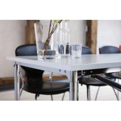 Eminent kantinebord 180x80 cm  hvid laminat / krom