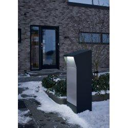 Allux Bjørn Pakkepostkasse med LED-lys, sort/grå
