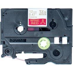 Brother TZe-RW34 12mm, guld på rødt satinbånd