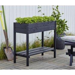 Plus Plantekasse på ben 88x37x79 cm, Sort