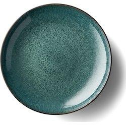 Bitz Fad Ø40 cm, grå stentøj med grøn glasur
