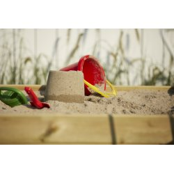 PLUS sandkasse m/opklappeligt låg, 120x120x19 cm