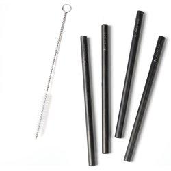 Zone sugerør i sort rustfrit stål, 4 stk., 21,5 cm