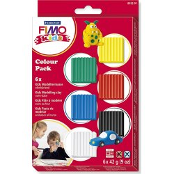 Fimo Kids Ler Colour Pack, 6x42 g, standardfarver