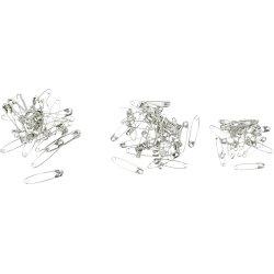 Sikkerhedsnåle, 28+31+36 mm, sølv, 600 stk