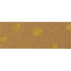 Flettestrimler i læderpapir, 15mm x 9,5m, guldprik