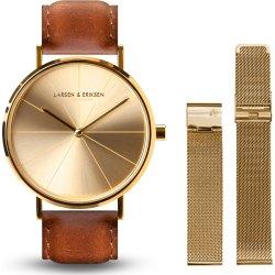 Larsen & Eriksen A37 ur, guld & brun + ekstra rem