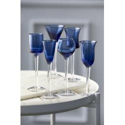 Lyngby Glas Snapseglas på fod, Blå